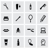 Vector black cosmetics icon set