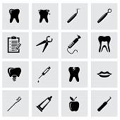 Vector black dental icon set