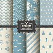 picture of pattern  - Set of Christmas simple retro winter seamless patterns - JPG