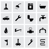 Vector black plumbing icon set