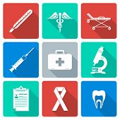flat design white silhouette medical icons set