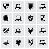 Vector black shield icon set