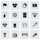 image of offside  - Vector black soccer icon set on grey background - JPG