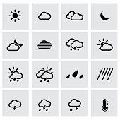 Vector black weather icon set