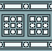 Seamless vintage ornamental tile border in blue