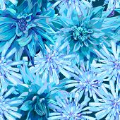 seamless pattern of winter frozen flowers