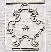 Cartouche On The Wall Of Ancient Russian Church In Totma