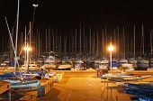 Night view of yachts and marina in Tel-Aviv