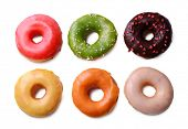 Delicious donuts with glaze isolated on white