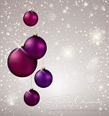 Christmas Background white violet evening balls