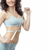 attractive young caucasian woman isolated  on white studio shot figure body brunette toothy smile