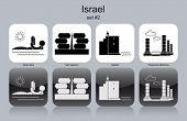 Landmarks of Israel. Set of monochrome icons. Editable vector illustration.