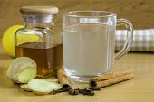 Ginger Tea And Ginger, Cloves, Lemon, Honey And Cinamon