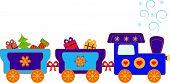 Blue Christmas Presents Polar Express Train Vector