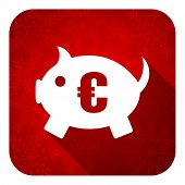 piggy bank flat icon, christmas button