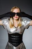 Tech woman in futuristic concept