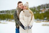 picture of amor  - Amorous dates enjoying winter day in park - JPG