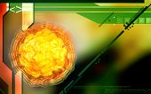 pic of polio  - Digital illustration of  polio virus in colour  background - JPG