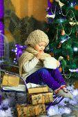 The Girl Near A Christmas Fir-tree