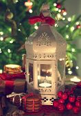 foto of desert christmas  - shining candles with christmas decorations - JPG