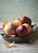 Onions on a rustic plate