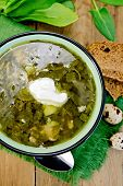 image of sorrel  - Green soup of sorrel and spinach in a bowl with sour cream on a napkin quail eggs bread spoon on a wooden board - JPG