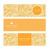 Vector golden lace roses horizontal banners set pattern background