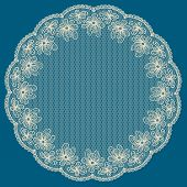 Round White Lacy Frame On Blue Background.