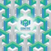 Abstract 3D isometric seamless background