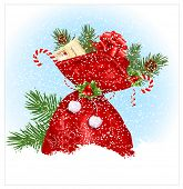 Christmas snow background with traditional sack. Vector illustration