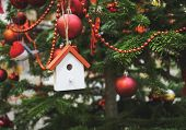 Christmas Tree Decoration wooden house Ornament