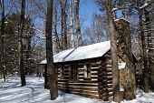 Cabin in Winter Snow