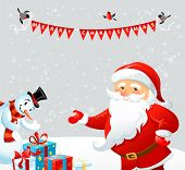 Santa Claus and Snowman. Holiday card with place for text.