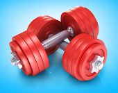 Big metal dumbells over white background