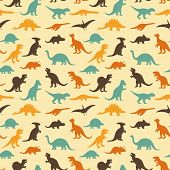 picture of prehistoric animal  - vector set silhouettes of dinosaur - JPG