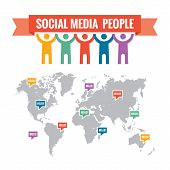 Social media people - vector concept illustration. World social network. World map included.