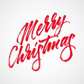 Red Abstract Merry Christmas Lettering