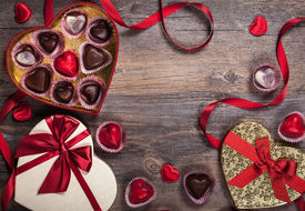 stock photo of valentine card  - Gift boxes of gourmet chocolates for Valentine - JPG
