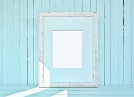 picture of mosk  - White canvas on blue wooden plank background - JPG