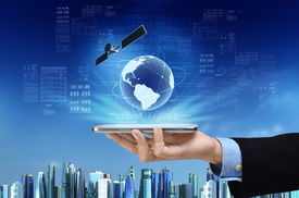 stock photo of globalization  - A concept of global internet connection on a smart phone with futuristic city background - JPG