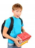 picture of schoolboys  - Surprised Schoolboy with a Books Isolated on the White Background - JPG