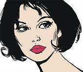 illustration of the face of a beautiful woman on a white background