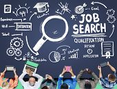 image of recruiting  - Job Search Qualification Resume Recruitment Hiring Application Concept - JPG