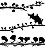 picture of ant  - Set of EPS8 editable vector silhouettes of leaf cutter ants with all leaf fragments and ants as separate objects - JPG
