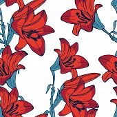 stock photo of lillies  - Elegant seamless lilly flowers pattern - JPG