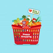 picture of supermarket  - Supermarket shopping basket with fresh and natural food - JPG