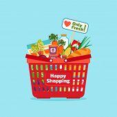 image of supermarket  - Supermarket shopping basket with fresh and natural food - JPG