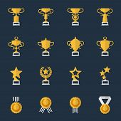 stock photo of prize  - Award cups and trophy icons - JPG