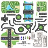 picture of tree lined street  - Road construction set - JPG