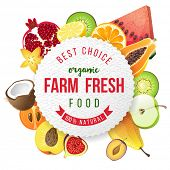 picture of farm  - farm fresh fruits emblem - JPG